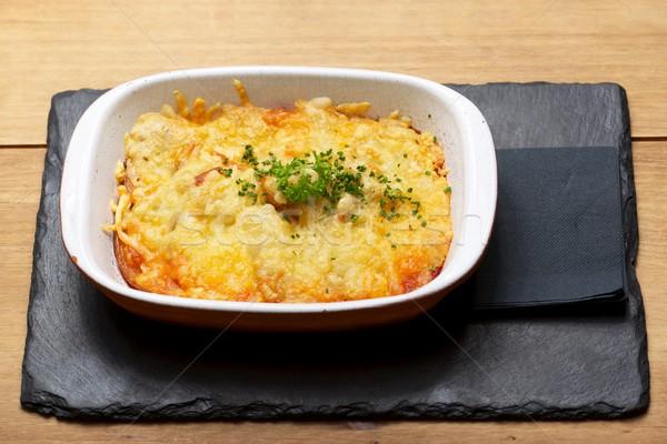 Toszkána krumpli edény fa asztal zöldségek főzés Stock fotó © pedrosala