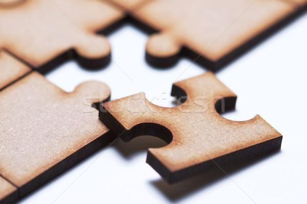Puzzle közelkép darabok üzlet fa háttér Stock fotó © pedrosala