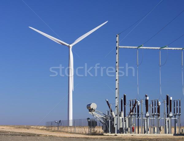 Centrale moulin à vent ciel bleu paysage usine énergie Photo stock © pedrosala