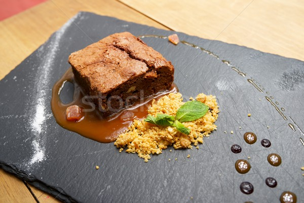 çikolatalı kek çikolata tahıl nane gıda yaprak Stok fotoğraf © pedrosala