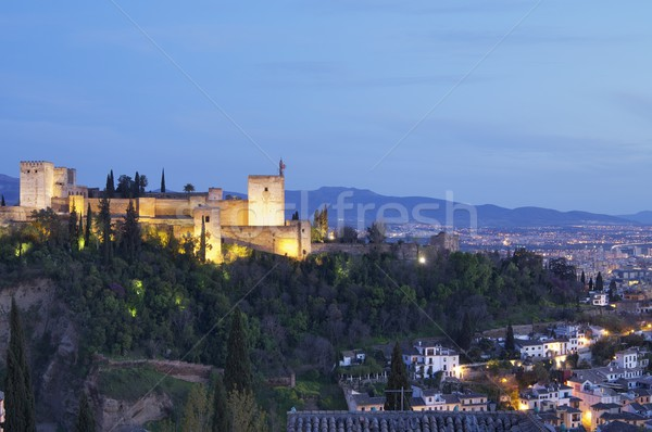 Naplemente Alhambra híres kilátás fa tájkép Stock fotó © pedrosala