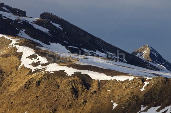 Foto stock: Montanhas · pôr · do · sol · paisagem · neve · montanha · azul