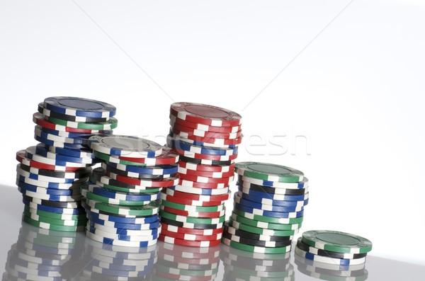 фишки казино белый таблице фон зеленый Сток-фото © pedrosala