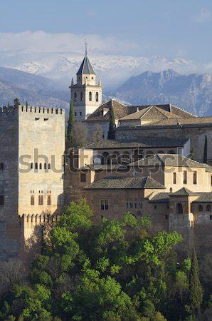 Naplemente Alhambra híres kilátás fa fal Stock fotó © pedrosala