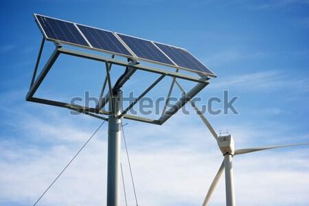 Energía renovable molino de viento fotovoltaica panel energía producción Foto stock © pedrosala