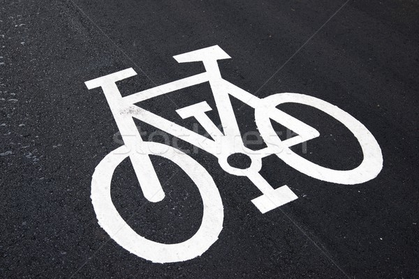 Foto stock: Sinalizar · ver · bicicleta · assinar · pintado