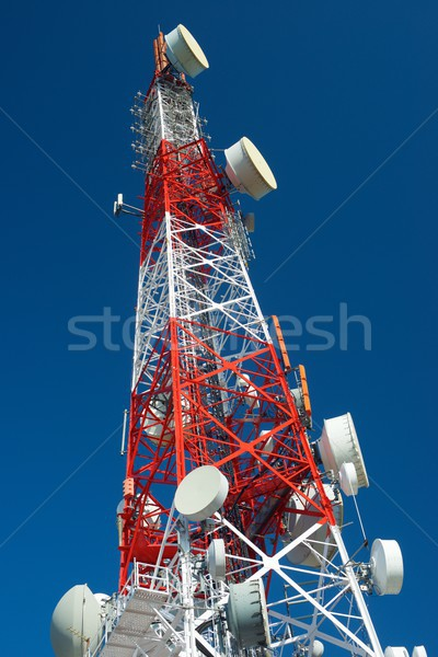 Telecommunicatie toren blauwe hemel business bouw technologie Stockfoto © pedrosala