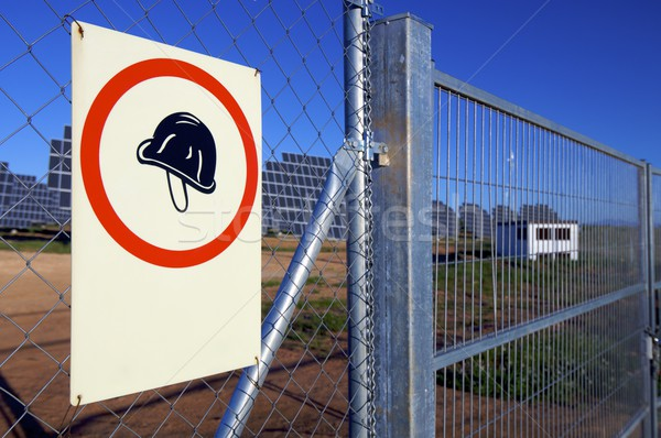 Helm poster verplicht metaal teken Blauw Stockfoto © pedrosala