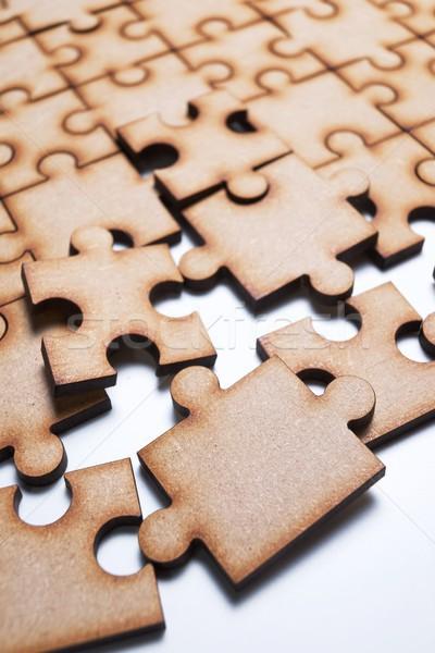 Stock fotó: Puzzle · közelkép · darabok · üzlet · fa · háttér