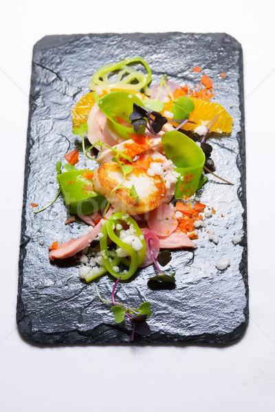 Tavuk salatası mevsimlik meyve balık restoran kırmızı Stok fotoğraf © pedrosala