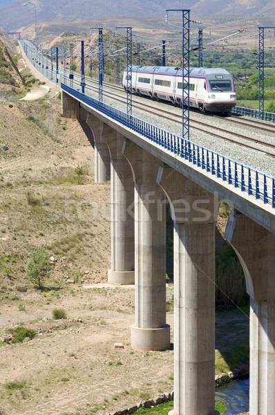 Trein lopen licht technologie metaal brug Stockfoto © pedrosala