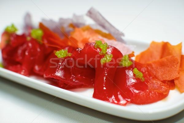 Rojo atún pequeño blanco platillo peces Foto stock © pedrosala