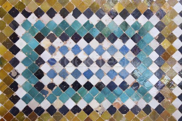 Kerámia közelkép csempe Alhambra palota textúra Stock fotó © pedrosala