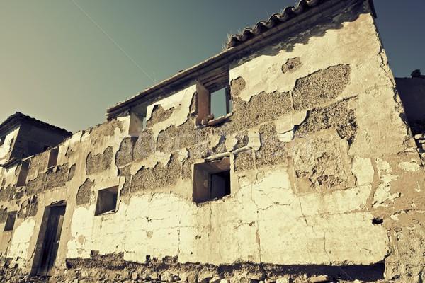 Stockfoto: Verlaten · landelijk · gebouw · hemel · home · venster