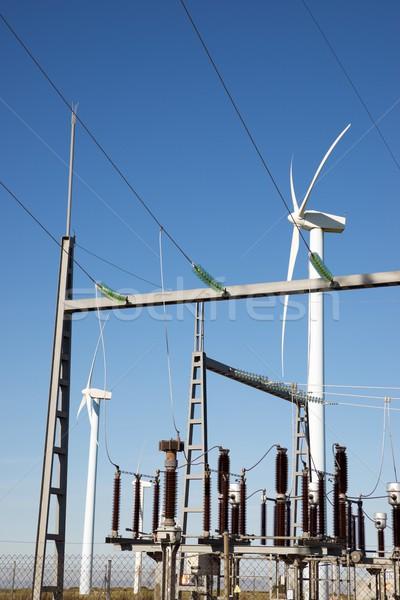 Szél energia elektomos technológia kék farm Stock fotó © pedrosala