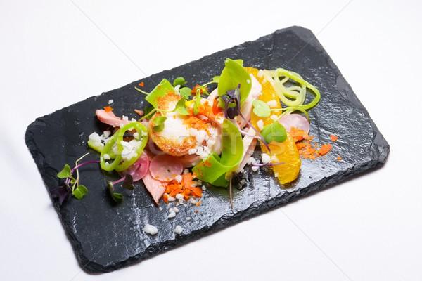 Csirkesaláta szezonális gyümölcs hal étterem piros Stock fotó © pedrosala