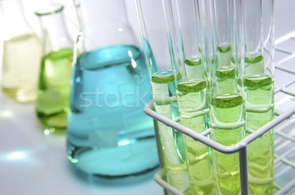 Laboratorium test zielone niebieski płynnych Zdjęcia stock © pedrosala