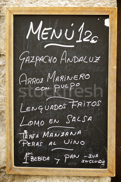 Tipik menü İspanyolca ahşap Stok fotoğraf © pedrosala