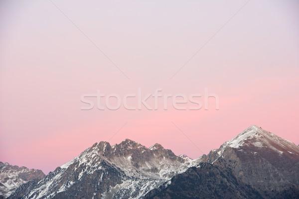 Vadi duvar gün batımı dağ kış Stok fotoğraf © pedrosala