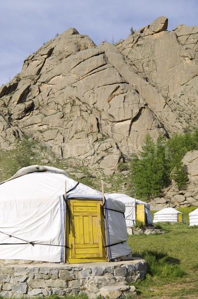 Stock photo: Mongolian gers