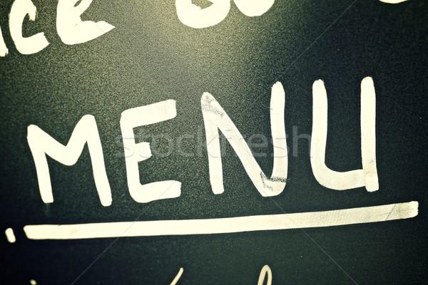 Stockfoto: Menu · typisch · Blackboard · Frankrijk · voedsel
