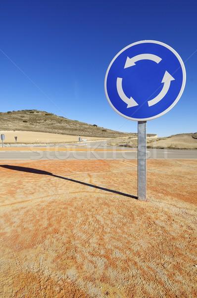 ラウンドアバウト 信号 表示 青空 市 通り ストックフォト © pedrosala