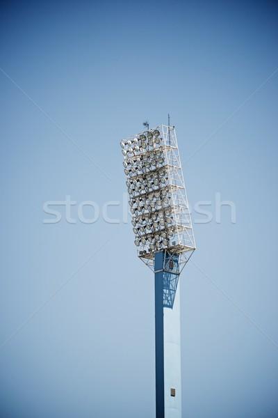 Stadion światła Błękitne niebo szkoły piłka nożna Zdjęcia stock © pedrosala