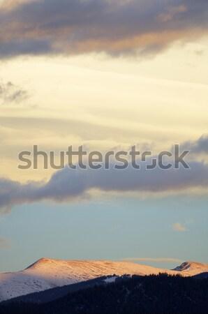 сумерки облака холмы закат небе пейзаж Сток-фото © pedrosala