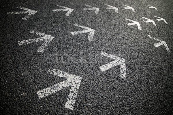 Стрелки асфальт окрашенный цемент полу дороги Сток-фото © pedrosala