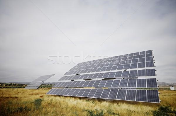 Fotovoltaikus panel hatalmas kék ég természet technológia Stock fotó © pedrosala