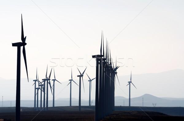 Elektrische productie witte hemel landschap veld Stockfoto © pedrosala