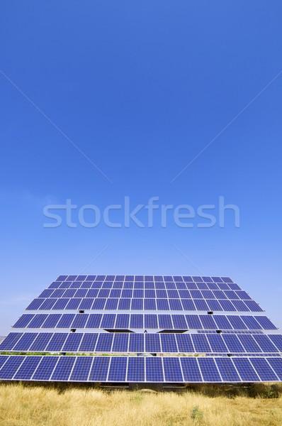 Fotovoltaik panel güneş alan mavi gökyüzü sanayi Stok fotoğraf © pedrosala