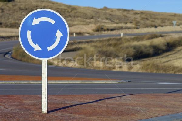 Rotonde signaal weg stad straat achtergrond Stockfoto © pedrosala