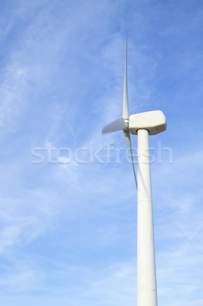 Egyedüli szélmalom kék ég égbolt technológia kék Stock fotó © pedrosala