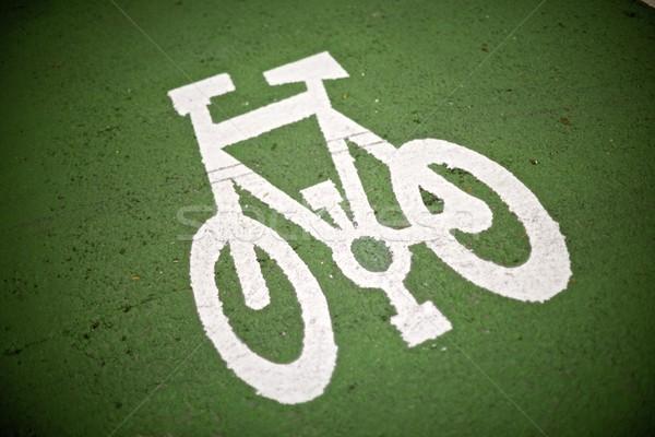 Foto stock: Bicicleta · assinar · pintado · rua · estrada