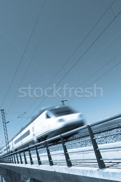 Blau Geschwindigkeit Zug klarer Himmel Himmel Auto Stock foto © pedrosala