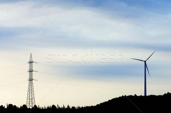 windmill and pylon Stock photo © pedrosala