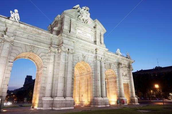 Nacht beroemd Madrid Spanje gebouw Stockfoto © pedrosala
