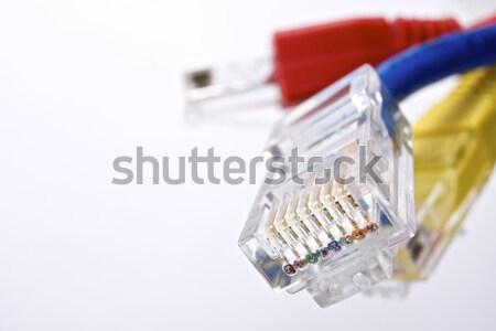 Ethernet kablolar grup bilgisayar beyaz ağ Stok fotoğraf © pedrosala