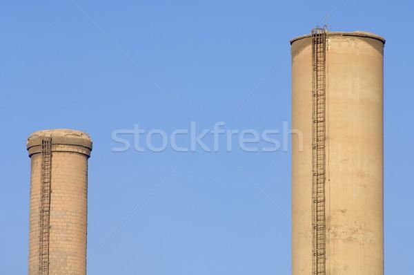çift endüstriyel çimento mavi gökyüzü İspanya gökyüzü Stok fotoğraf © pedrosala