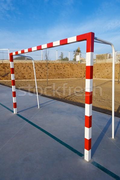 Gól piros fehér kék ég sport futball Stock fotó © pedrosala