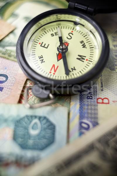 Wereld tour kompas bankbiljetten verschillend landen Stockfoto © pedrosala