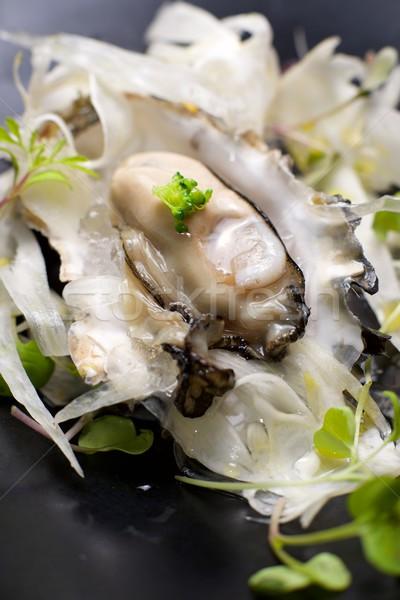 Osztriga fél kagyló édeskömény saláta hínár Stock fotó © pedrosala