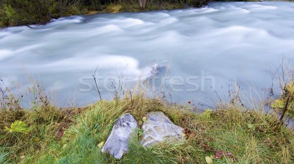 Laiteux rivière automne vallée herbe forêt Photo stock © pedrosala