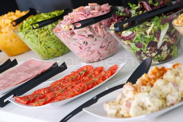 Büfé edények étel saláta étterem asztal Stock fotó © pedrosala
