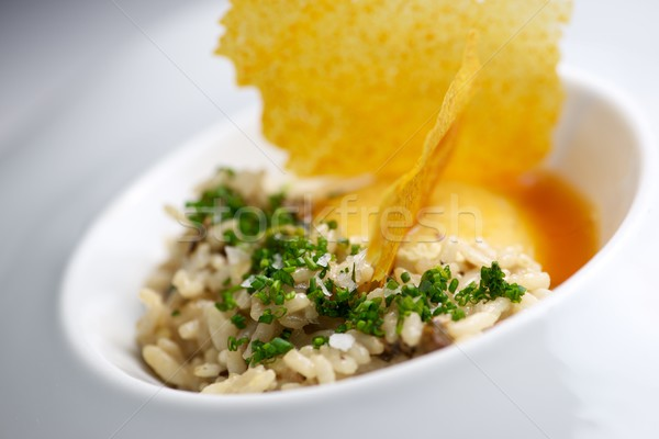 Rizottó közelkép tányér zöldségek narancs zöld Stock fotó © pedrosala