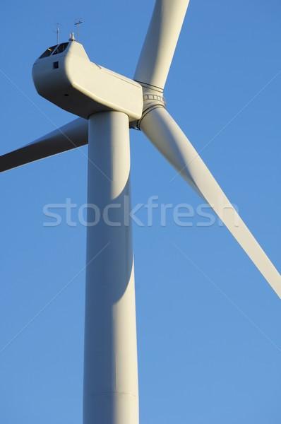 Szélmalom előtér felső elektromosság gyártás égbolt Stock fotó © pedrosala