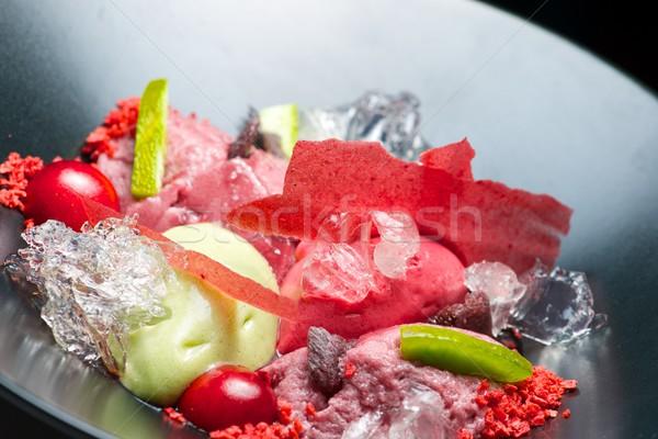 Eper pisztácia fagylalt anime fekete tál Stock fotó © pedrosala