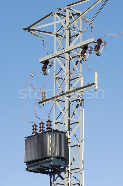 Elektryczne transformator moc line niebo technologii Zdjęcia stock © pedrosala