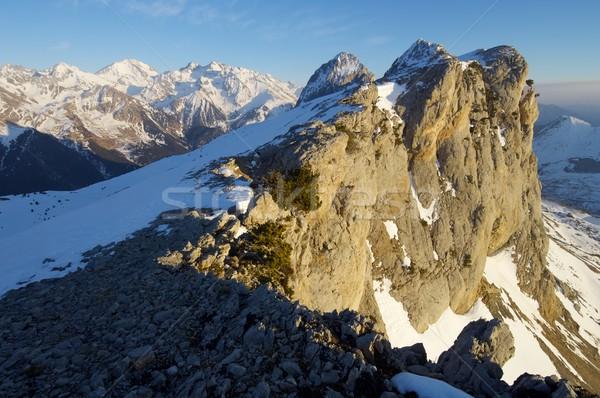 Csúcs völgy fal tájkép hegy tél Stock fotó © pedrosala